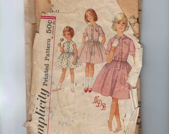 1960s Vintage Childs Sewing Pattern Simplicity 4829 One Piece Dress with monogram Transfer Size 12 Bust 30  99
