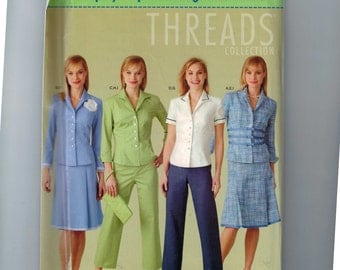 Misses Sewing Pattern Simplicity 4637 or 0559 Threads Collection Pants in Two Lengths Skirt Jacket and Purse Size 14 16 18 20 UNCUT