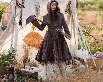 TWILIGHT WOOL JACKET - Boho Long coat Hippie Steampunk Steam punk Bohemian Faery Fairy Pixie Gypsy Witch Vintage Goa Plus size - Brown
