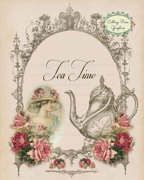victorian tea time large digital printable download pink. Black Bedroom Furniture Sets. Home Design Ideas