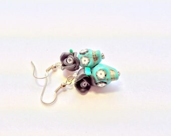 Black White and Turquoise Day of the Dead Rose Sugar Skull Earrings