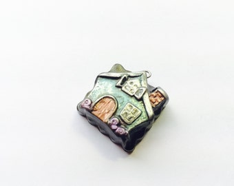 Fairy Tale Cottage Handmade Polymer Clay Focal Bead or Pendant