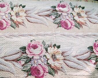 Glen Court Pink Roses Vintage Barkcloth Bark Cloth fabric panel - 2 tone cream background - very textured