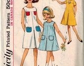 Vintage 60's Sewing Pattern, Girls One Piece Dress, Inverted Pleat, Size 7