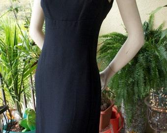 Vintage 60s Mod Black Buckle Shoulder Sleeveless Mini Cocktail Dress