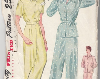 """Vintage Sewing Pattern 1940's Ladies' Pajamas Simplicity 1995 Size 30"""" Bust - Free Pattern Grading E-book Included"""