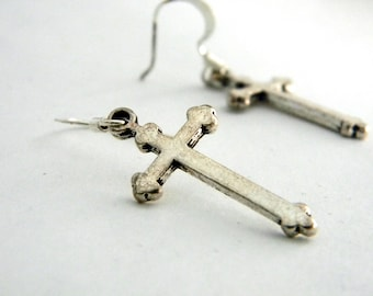 Simple Long Cross Earrings Silver Color Dangle Earrings