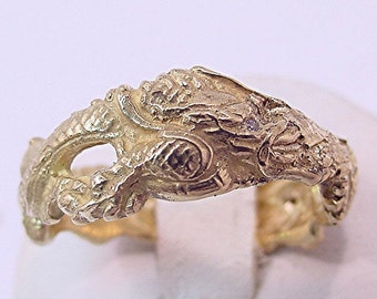 Custom Hand carved 18K yellow gold diamond Dragon Ring Wedding band  9 grams
