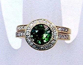 AAAA Green Tourmaline 7.00mm 1.39 Carats 14K Yellow gold diamond halo bridal set. 0785 MMM