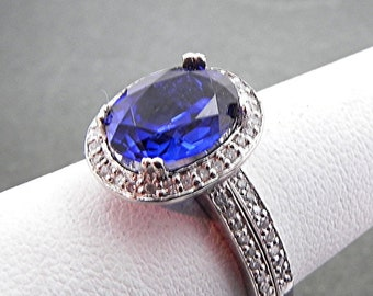 AAA Manmade Blue Sapphire   10x8mm  3.14 Carats   in 14K White gold diamond bridal set(.50ct) 0977 B108 MMMM