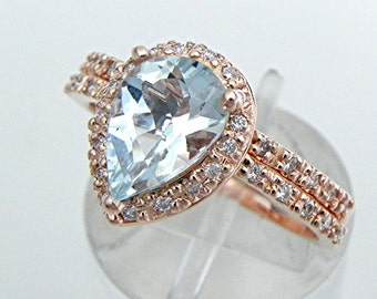AAAA Aquamarine Pear shape Natural untreated 10x7mm 1.36 Carat in a 14K Rose gold bridal set with .40cts of diamonds. B107 1512a