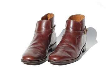 Size 9 Men's Brown Leather Strap Ankle Boots