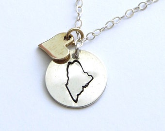 State of Maine Necklace • Gold Heart • Maine Jewelry • Maine Necklace • Hand Stamped State Necklace