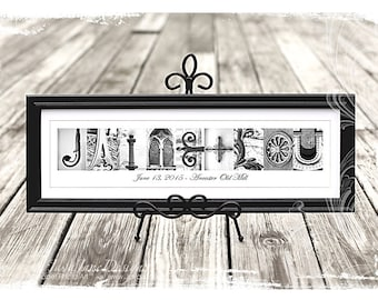 Classic Alphabet Photography Framed Name for Longer Names (8 or more letters) in Black and White Alphabet Letter Photos