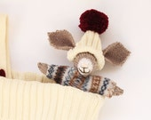 Christmas Stocking with hand knitted bunny toy, Christmas toys, baby Christmas, baby stocking, knitted holiday gift, stocking with toy