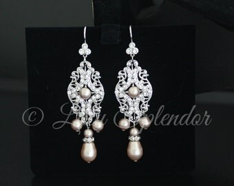 Champagne Pearl Wedding Earrings Bridal Chandelier Earrings Drop Pearl Earrings Pearl Wedding Jewelry YASMIN