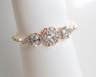 Rose Gold Bridal Bracelet Crystal Wedding Bracelet Art Deco Pearl Wedding Jewelry   KATRINA PEARL
