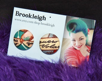 "Fabric covered earrings, 23mm (7/8""), Retro/ Vintage /Rockabilly inspired. ALEXANDER HENRY Frida fabric tropical faith"