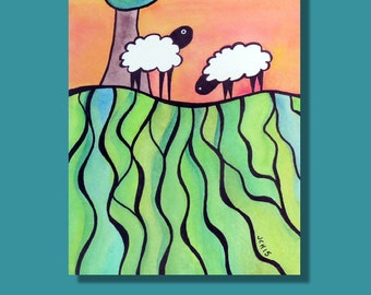 """Sheep On A Hill 1 Watercolor and Ink Landscape Painting Drawing  5"""" x 7""""  Wall Art"""