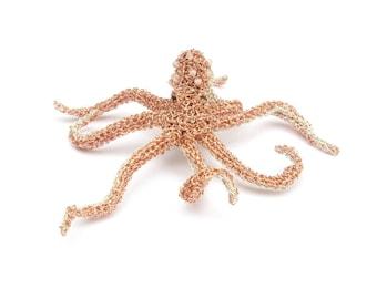 Octopus brooch - animal brooch, octopus jewelry, crochet wire, unusual jewelry, sea creature, crochet octopus, animal jewelry, ooak brooch