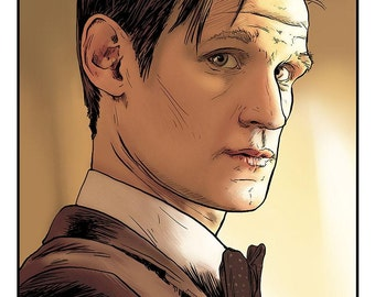 Matt Smith Doctor Who Portrait - LIMITED COLOR EDITION - Dr Who Art Eleven