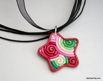 Red and Green Star Pendant in Polymer Clay Filigree