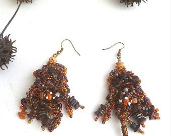 Beaded brown earrings, bohemian, gypsy, Coachella, statement earrings, free form peyote stitch, wearable art
