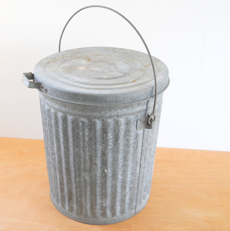 Vintage Reeves Galvanized Trash Can Industrial Rustic