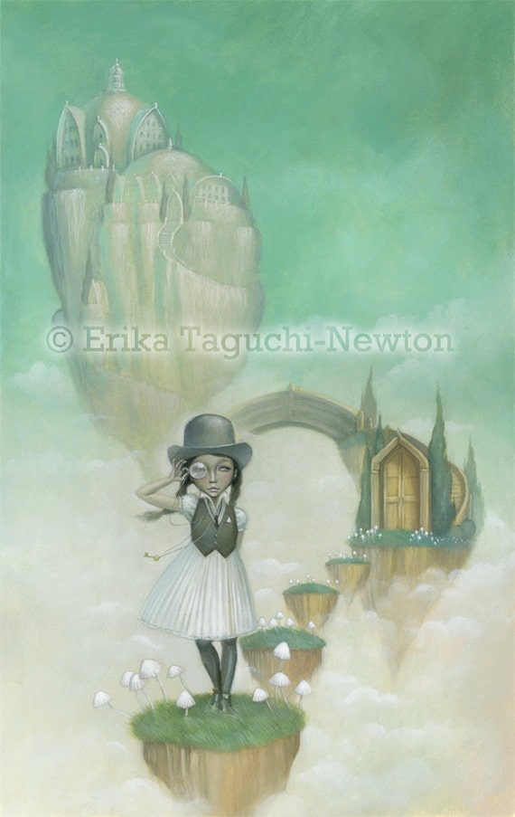 """Floating Castle Art, Dapper Derby Hat Girl Painting, Pop Surrealism Fine Art Print, """"Remains to be Seen"""""""