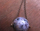 Russian Charoite Stone Necklace  Long Chain Purple Stone of Power Stone of Transformation Necklace by SusanHeleneDesigns