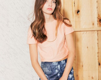Cropped top in orange chambray coton ((ON SALE))