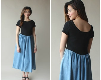 denim midi dress / color block black denim dress / 1990s / small