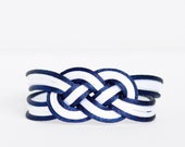 White and navy blue large double infinity knotted nautical rope bracelet