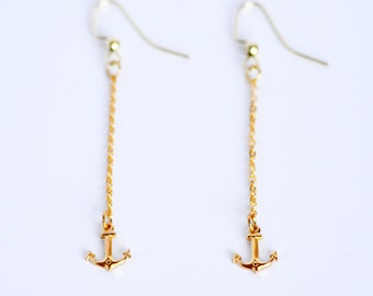 Nautical gold petite anchor charm delicate dangle earrings