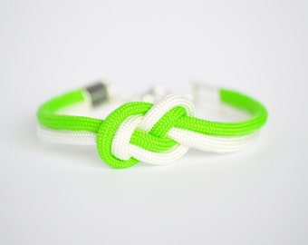 Neon lime green and white infinity knot nautical rope bracelet
