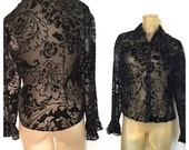 Black Velvet Blouse Sheer Floral Rayon Velveteen Flowers Frilly Cuffs Elegant See Through Blouse Elegant Black Vintage Shirt Worthington 6