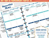Forever Planner Printable - Weekly Spread - Beautiful Blues - Instant Download - Undated