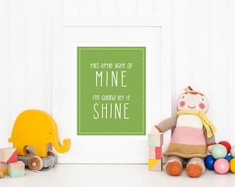 This Little Light of Mine - Christian Printable Art - Grass Green Nursery Art - Baby Boy Room Decor - Song Lyric Art - Let Your Light Shine