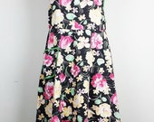 Vintage Black Floral Print Full Apron Pocket