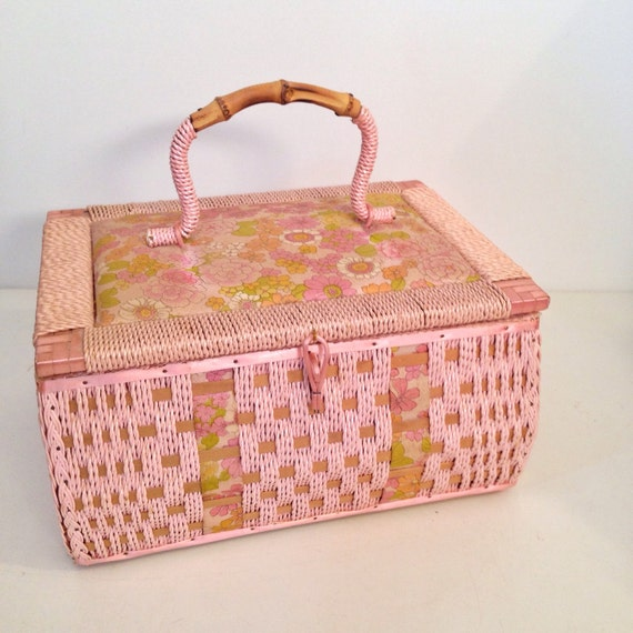 Vintage Wicker Sewing Basket 107