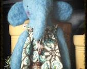 Needle Felted Periwinkle ElliePhant Folk Art & Primitive Elephant Doll
