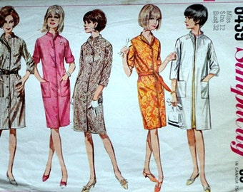 Simplicity 6439 Vintage 60's Sewing Pattern, Misses' One-Piece Coat-Dress Or Unlined Coat, Size 12, Bust 32