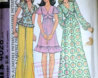 Vintage 70's McCall's 4028 Sewing Pattern, Pullover Dress Or Top Size 8, 31 1/2 Bust
