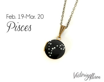 Pisces Star Sign, Zodiac Necklace, Constellation Necklace, Vintage Tiny Locket, Hand Painted, Brass Chain, February Birthday, March Birthday