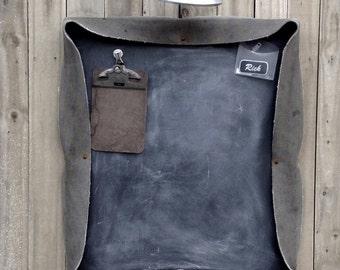Industrial Vintage Repurposed  Conveyor Belt Chalk Board Magnetic Board Combo