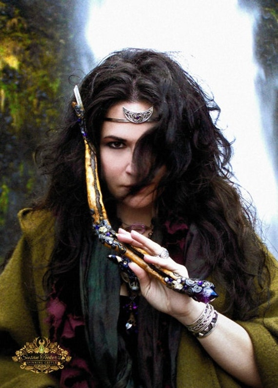 Goddess Magic Pagan Witch Waterfall Fine Art Photography Crystal Wand Crescent Moon Greeting Card THE HIGH PRIESTESS by Spinning Castle