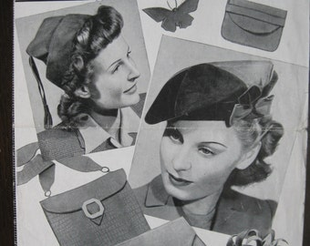 1940s Leather Accessories - Fez Cap Brooch Beret Posy Purse Satchel Bag Envelope Pattern - Bestway 1120 - Home Front Wartime WW2 PDF