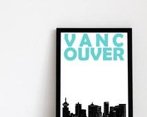 Vancouver Print // Canada Art Skyline