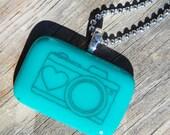 Fused Glass Pendant - Camera - black on teal