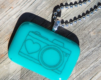 Fused Glass Pendant - Camera - black on teal